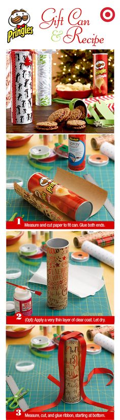 Need a last minute DIY wrapping solve? Get in the holiday can do spirit with this Pringles can-to-cookie container. Christmas Wrapping, Diy Christmas Gifts, Christmas Projects, Holiday Crafts, Christmas Time, Christmas Decorations, Christmas Cookies, Homemade Gifts, Diy Gifts