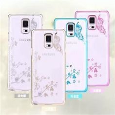 Galaxy Note 4 Diamond Flowers, Butterfly Transparent Case
