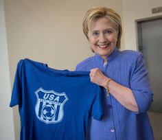 Hillary Clinton Holding a USA Deaf Soccer Team shirt as they travel to represent the US in the Deaf World Cup in Italy June 2016  THANKS HILLARY!  ::-) #SheIsWithUS - Twitter Search