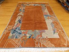 "6' 8"" x 9' 8"" Orange Blue Gray Abstract Plush Hand Knotted Wool Modern Area Rug - $509.00"