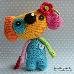 ༺༺༺♥Elles♥Heart♥Loves♥༺༺༺ ........♥Crochet Amigurumi♥........ #Amigurumi #Patterns #Crochet #Softies #Childrens #Toys #Handmade #Teddy #Doll #Tutorial #Patterns #Collectable~ ♥Amigurumi Patterns Woof ..:-) crochet rainbow dog pattern