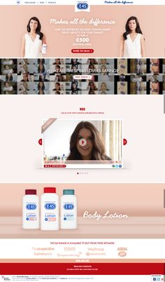 Development of a campaign website for UK, based on Designs from an external agency. Coordination and Consultancy of all involved parties; Responsive states and video upload modules and backend management; The Draw, View Video, Shopping Spree, Body Lotion, Management, Parties, Website, Beautiful, Fiestas