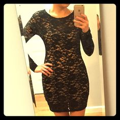 Lace bodycon dress Lace bodycon dress in excellent condition. Like new. 60% cotton, 30% nylon, 10% spandex. 30 inches long. The dress is sheer and requires a slip underneath. Tobi Dresses