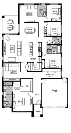 Designed around carefully zoned living spaces, the Riviera's layout is a unique combination of privacy, space and family sharing. Duplex Floor Plans, Bungalow Floor Plans, Modern House Floor Plans, Home Design Floor Plans, Bedroom Floor Plans, New House Plans, Dream House Plans, Plan Design, Boutique Homes