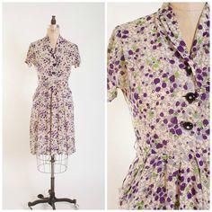 1940s Vintage Day Dress Purple Polka Dot Novelty Print Rayon Chiffon Vintage 40s Shirt Waist Dress with Pockets Size Medium by stutterinmama on Etsy