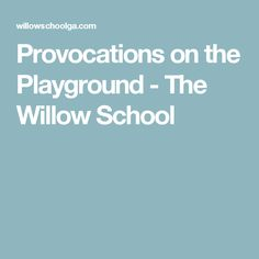 Provocations on the Playground - The Willow School