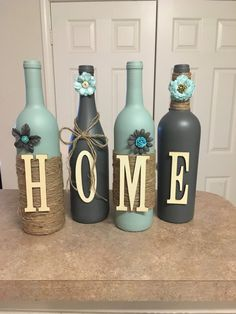 Sets include 4 bottles, each additional bottle is $7. Many colors to choose from, if you are looking for another combination of color or style let me know. These make great Birthday gifts,wedding gifts, shower gifts, etc. U can find my other ideas on Facebook at lovetammyscrafts