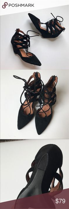 """Jeffrey Campbell Caged Lace Up Wedge Sandals Crossover straps add a graceful ballet element to a pointy-toe pump d'orsay set on a svelte wedge heel. Brand new without box! Style: Sombra 2 1/2"""" heel Lace-up style with back zip closure. Leather upper and lining/synthetic sole. Item #5052242 Jeffrey Campbell Shoes Wedges"""