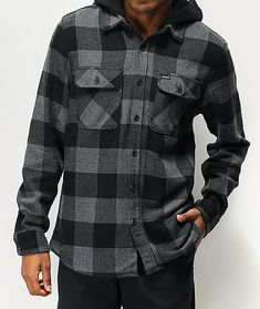 Pick up a comfortable new layer with the Bowery black hooded flannel shirt from Brixton. This soft flannel shirt comes in a black and grey plaid colorway for a timeless style and features a fixed hood for a layered look. A traditional button-up placket an Plaid Shirt Outfits, Casual Outfits, Flannel Shirts, Flannels, Casual Clothes, Country Girl Dresses, Country Outfits, Cowgirl Outfits, Cowgirl Clothing