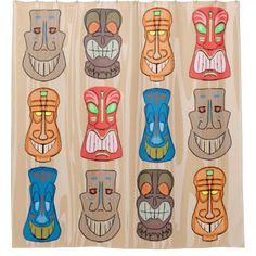 Shop Fun Cartoon Hawaiian Tiki Head Shower Curtain created by mariannegilliand. Hawaiian Crafts, Hawaiian Tiki, Tiki Pole, Tiki Tiki, Totem Pole Craft, Tiki Lights, Tiki Head, Tiki Statues, Tiki Bar Decor