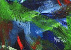 Abstract Painting - Painted by Retired Racehorse  Benefits Charity 5x7 matted to 8x10