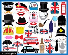 London Props set 1 Digital Clipart Clip Art Graphics by HaHaHaArt 1 Clipart, Photo Booth Props, Digital Stamps, Paper Dolls, Graphic Design, London, Prints, A4 Size, Letter Size