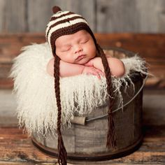 Adorable with a capital A! Dexter Chevron Brown & Cream Newborn Hat #laylagrayce #new #lgbaby
