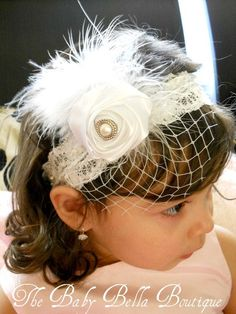 Gorgeous Luxe Vintage Inspired white lace Headband-BabyGirl white lace headband.. $16.50, via Etsy.