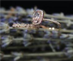 Handmade Morganite Ring Set Engegement Ring Set 7x9mm by NidaRings