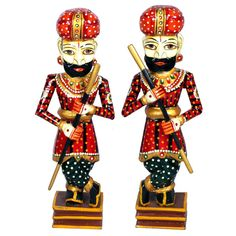 Set Of 2 Rajasthani Wooden Guards #CraftShopsIndia #WoodenCrafts