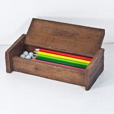 Vintage Wooden Pencil Case