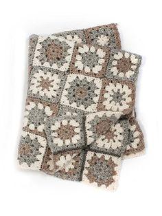 Crochet Baby Blanket Kit: modern granny square soft British alpaca blanket pattern.