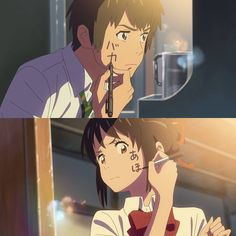 Your Name- Mitsuha and Taki writing on their cheeks with their pens Kimi No Na Wa, Otaku Anime, Anime Manga, Anime Art, I Love Anime, Me Me Me Anime, Anime Guys, Fanarts Anime, Anime Characters