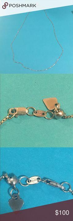 Love Earth white gold box chain 14k white gold love earth box chain Jewelry Necklaces