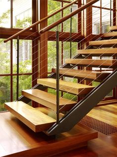 Love the open tread staircase, minus the cable railing Open Staircase, Staircase Railings, Staircase Design, Stairways, Stair Treads, Cottage Stairs, House Stairs, Metal Stairs, Stair Detail