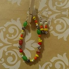 Bracelet and earrings Citrus spritz!  Glass and metal beads in orange, lime, and yellow. Accessories