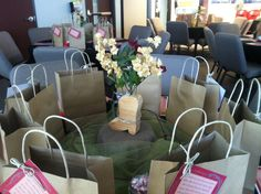Western country themed party decor. Table includes goody bags and handouts for our training.
