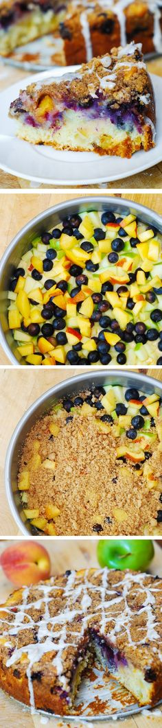 The perfect coffee cake for the summer: with blueberries, apples, and peaches! With extra crumb topping!