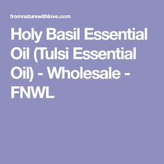 Holy Basil Essential Oil (Tulsi Essential Oil) - Wholesale - FNWL