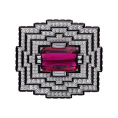 Cartier Royal Collection: brooch/belt buckle, 18K white gold, one 25.56 carat emerald-cut rubellite, rubellites, black lacquer, diamonds.