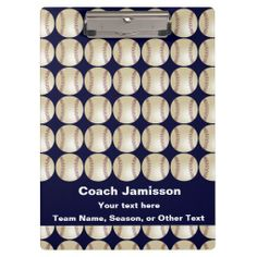 Clipboard Dark Blue, Baseball/Softball With ROSTER - This clipboard is a great gift for the baseball or softball team coach! On the front - A baseball/softball pattern with a dark blue background and white lettering - very bright and eye catching. On the back - the baseball/softball pattern, PLUS space for you to add the entire ROSTER! Sample text on front and back can easily be modified or deleted. All Rights Reserved © 2014 Alan & Marcia Socolik.  #Baseball #Gift4Coach