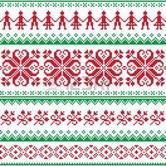 Nordic nahtlos gestrickten roten und gr�nen Muster photo