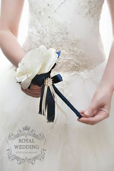 Flower Girl Wand Navy Blue Wand Ivory Wand by RoyalWeddingDecore