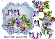 Scallop Topper Glorious Morning Butterflies on Craftsuprint designed by Marijke Kok - Beautiful, scallop topper with glorious morning flowers and butterrflies - Now available for download!