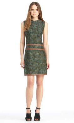 Tweed + Leather Dress by Rachel Roy