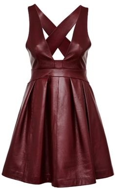 burgundy leather dress with full skirt (Asos) Haute Couture Style, Beautiful Dresses, Nice Dresses, High Fashion, Womens Fashion, Leather Dresses, Leather And Lace, Red Leather, Leather Fashion