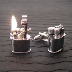 "Vintage Lighter Cufflinks. ""Functional."" LOLZ."