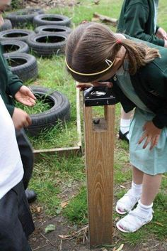 Bug Magnifier Discovery - Activity & Role Play Playground Equipment--oooh-I want one in my yard! Outdoor Learning Spaces, Outdoor Play Areas, Outdoor Toys, Outdoor Games, Preschool Playground, Playground Ideas, Toddler Playground, Modern Playground, Playground Design
