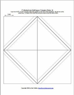 """PDF downloads for half-square triangle templates. Paper piecing method. 1"""", 2"""", 3"""", and 4"""" finished HST patterns."""