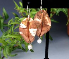 Copper Leaf Earrings with Pearl Drop by HeatherEvansJewelry, $28.00