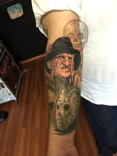 Freddy Krueger Jason Voorhees horror tattoo.... put Chucky on the side