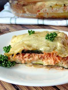 Zucchini and Chicken Alfredo Lasagna | YummyAddiction.com | #lasagna #chicken #zucchini #alfredosauce