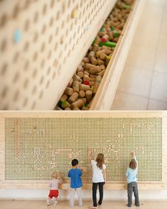 "Great Idea for a future playroom or use in a preschool ""Cork pixel wall by Tali Buchler http://growingupcreative.typepad.com/tali_buchler/"""