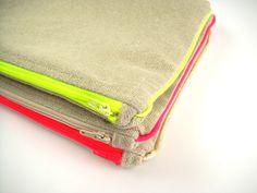 * Pochettes neon en lin * #pochette #lin #fluo #madeinfrance #lesdesinvoltes