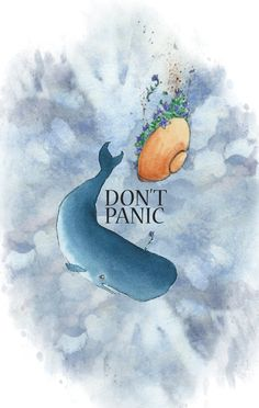 whale and bowl of petunias tattoo | Don't Panic -new ink design- by ~DraGonLanCer on deviantART