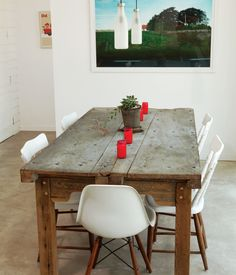 The dining table in the Suttles and Shah residence made from two old Mexican doors.  Photo by Brent Humphreys.