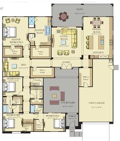 Plan 44045td center hall colonial house plan for Columbia flooring melbourne ar