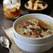 spicy reuben chowder with brown butter rye croutons - Climbing Grier Mountain