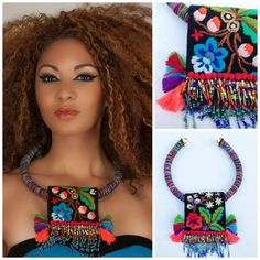 Bohemian folk embroidery beaded tassels and fringes  art necklace, Diomios.