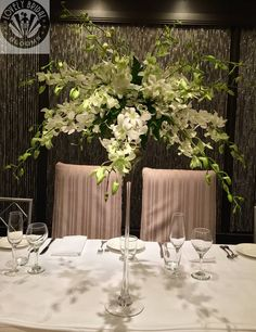 tall display of white Singapore orchids